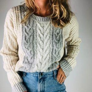 ANTHROPOLOGIE | Grey Cableknit Crewneck Sweater M